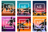 Hello summer set the template for the poster in a white frame on a background of sunset and palm trees. Beach concept collection, vacation, vacation by the sea. Vector illustration.