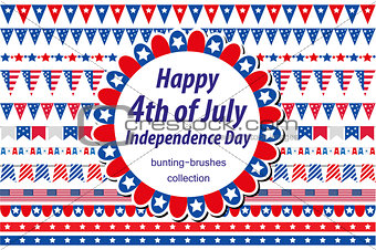 American Independence Day, celebration in USA. Set borders, bunting, flags, garland. Collection of decorative elements for July 4th national holiday. Vector illustration, clip art.