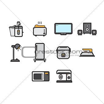 Flat color home appliances icon set