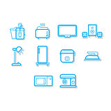 Thin line home appliances icon set