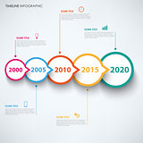 Time line info graphic with round design pointers