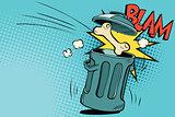 Bone dog flies in the trash
