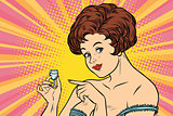 Retro lady offers a drink of vodka