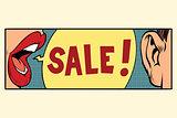 Rumors about a sale, pop art concept