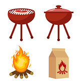 Set for barbecue and grill with charcoal, bonfire. Collection for BBQ. Isolated on white background. Vector illustration.