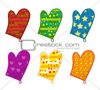 Kitchen potholders, mittens with different patterns. Isolated on white background. Vector illustration, clip-art.