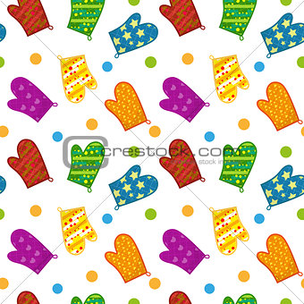 Kitchen potholders seamless pattern. Mittens for cooking endless background, repeating texture. Isolated on white background. Vector illustration.