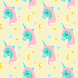 Magic Unicorn seamless pattern. Modern fairytale endless textures, magical repeating backgrounds. Cute baby backdrops. Vector illustration.