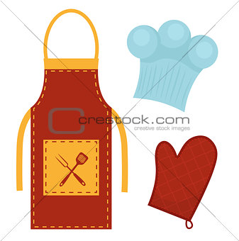 Kitchen set with apron, cook cap, potholder. Clothes for cooking, restaurant concept. Chef's uniform. Isolated on white background. Vector illustration.