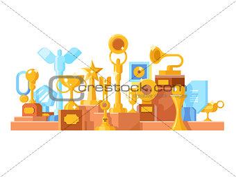 Awards set design flat