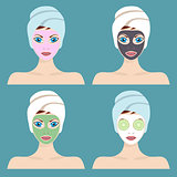 Set of 4 women with cosmetic face masks.