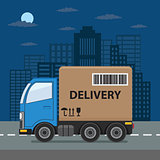 Delivery truck on city background.