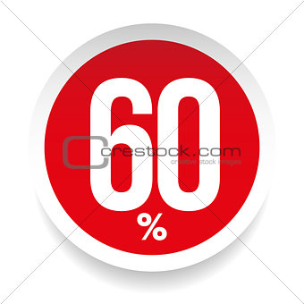 Sixty percent sale sticker