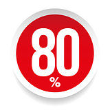 Eighty percent sale sticker