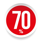 Seventy percent sale sticker
