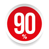 Ninety percent sale sticker