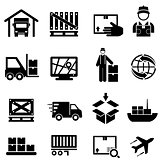 Shipping, cargo, delivery and warehouse web icons