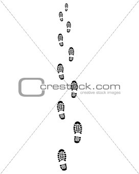 Trail of shoes prints