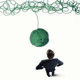 Concept of solution and innovation with wool ball