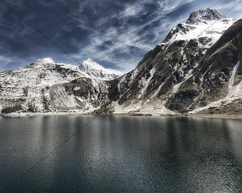 Alpine lake and blue sky