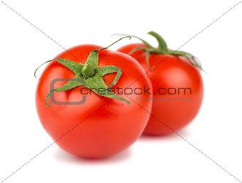 Pair of ripe red tomato
