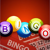 Bingo balls and cards on red background