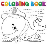 Coloring book sailor whale theme 1