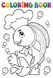 Coloring book with fish chef