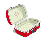 Red open suitcase for travel.