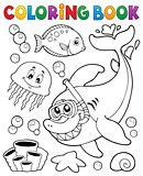 Coloring book with shark snorkel diver