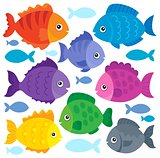 Stylized fishes theme set 1