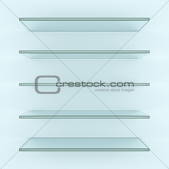 Five alike glass shelves on white wall