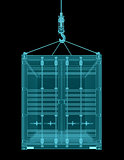 Shipping container with hook. X-ray image