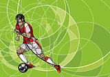 Abstract image of soccer player with ball