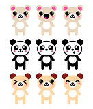 Kawaii bear icons set, cute panda bear design