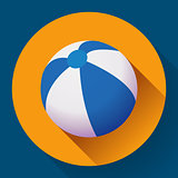 Beach Ball icon. Modern Flat style with a long shadow