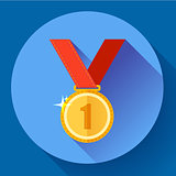 Gold medal icon - first place. Flat design style.