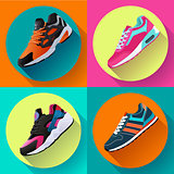 fitness sneakers shoes for training running shoe flat design with long shadow. Sport shoes set