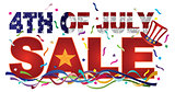 4th of July Sale Text with US Flag Confetti Illustration