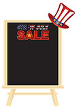 4th of July SALE sign board with Hat Illustration