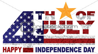 4th of July Independence Day Text Gold Star illlustration