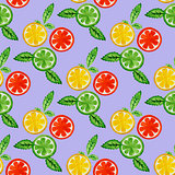 Watercolor seamless pattern with citrus.