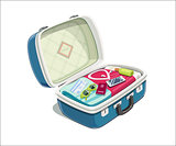 Open suitcase with clothes for travel.