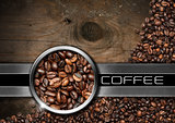 Wood and Metal Background with Coffee Beans