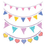 Vintage bunting flags and garlands