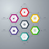 Infographics template 6 options with hexagon