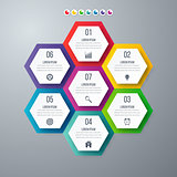 Infographics template 7 options with hexagon