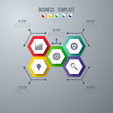 Infographics template 5 options with hexagon
