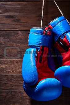 Blue and red boxing gloves hanging on wooden wall.