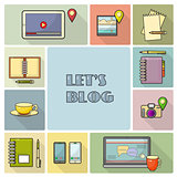 Lets blog card.  Vector illustration for social media.
